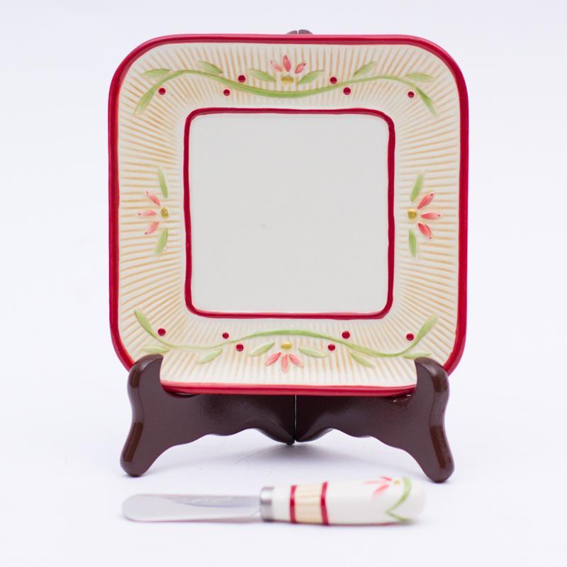 Тарелка для сыра новогодняя 15 см  - фото