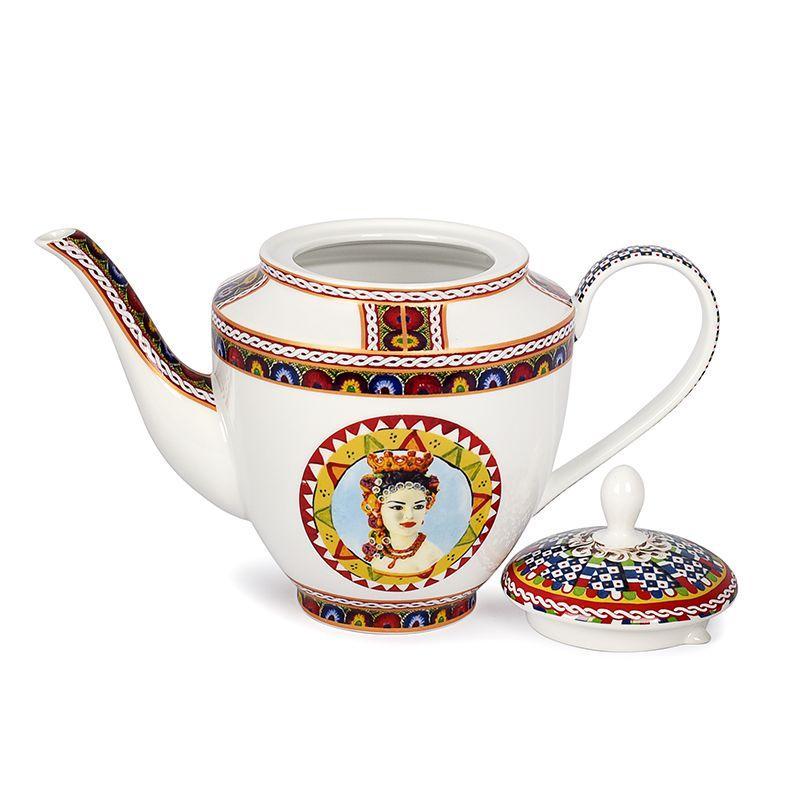 Белый фарфоровый заварник для чая с узором Santa Rosalia  - фото