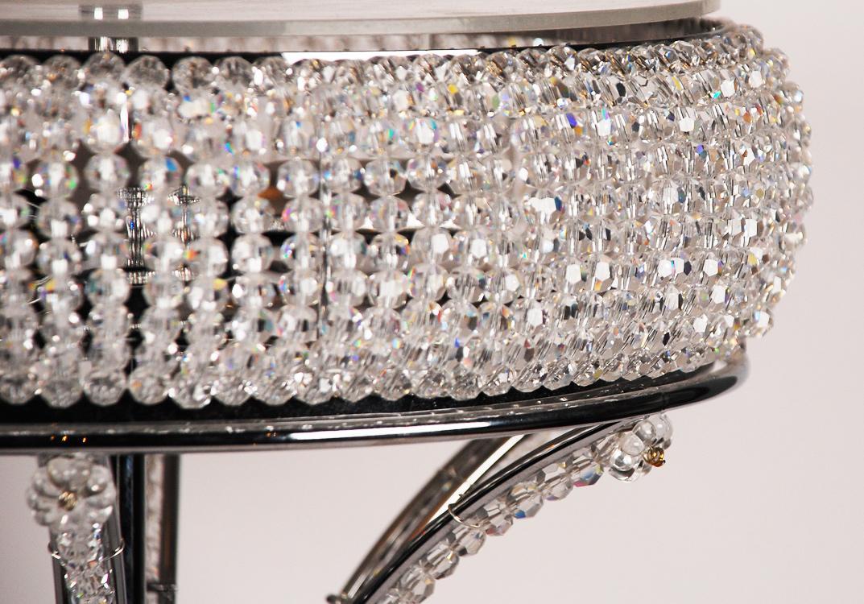 Настольная лампа металлическая со стеклянным декором  - фото