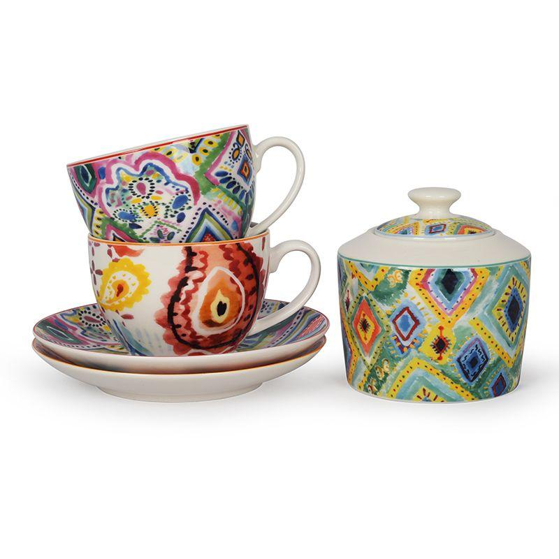 Набор из 2-х чайных чашек с блюдцами с ярким узором Samba  - фото