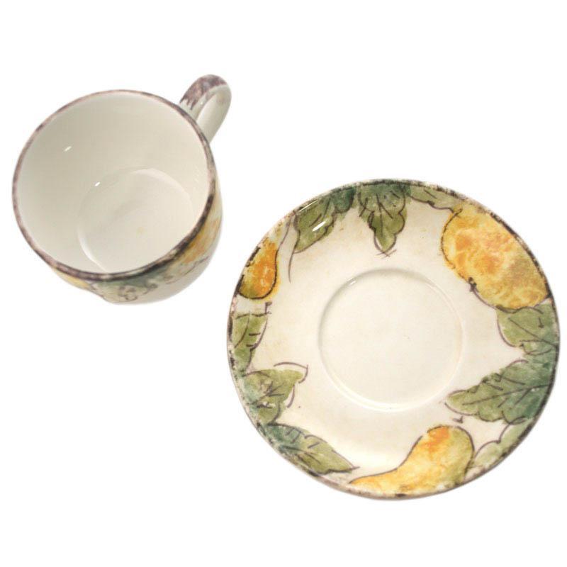 Чашка ручной работы с блюдцем Frutta  - фото