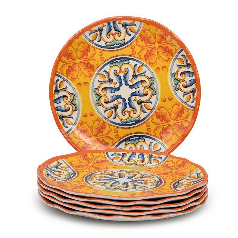 Обеденная тарелка из ударопрочного меламина с сине-оранжевым орнаментом Medicea   - фото
