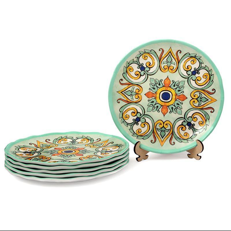 Десертная тарелка из небьющегося меламина с орнаментом на бирюзовом фоне Medicea  - фото