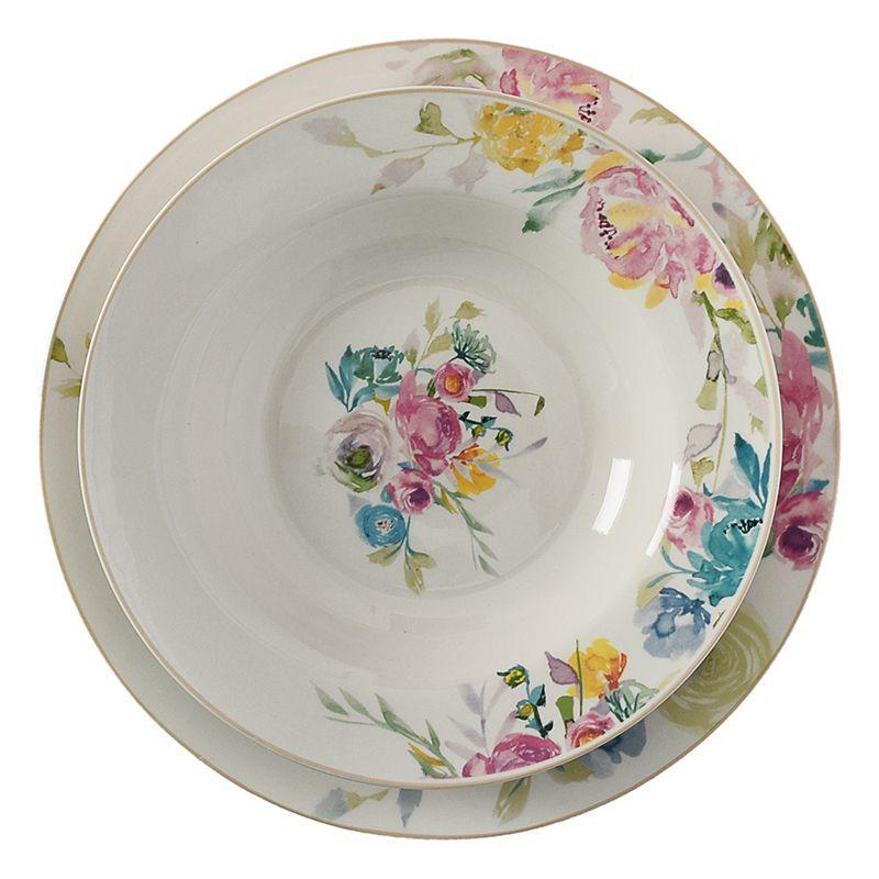 Фарфоровый столовый сервиз на 6 персон из тарелок с ярким орнаментом Paradise  - фото