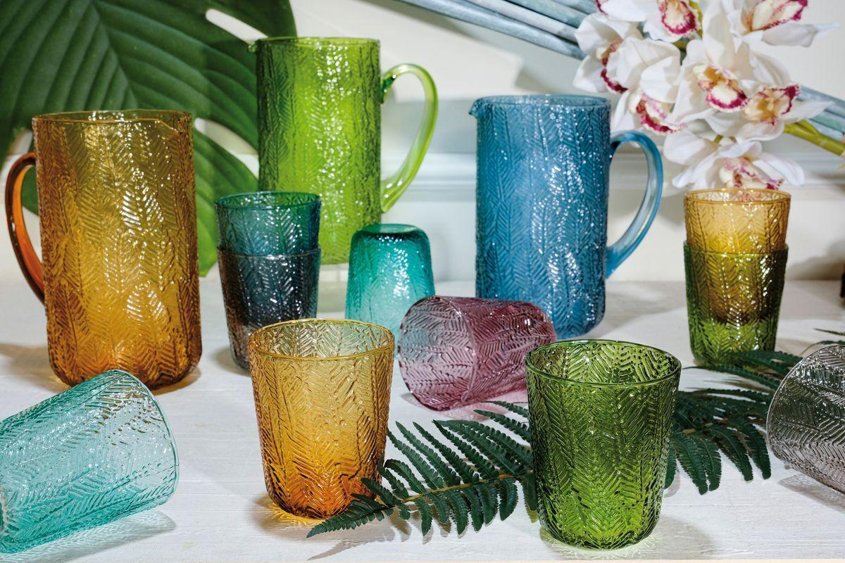 Набор голубых стеклянных стаканов с рельефным узором их лепестков, 6 шт. Montego  - фото