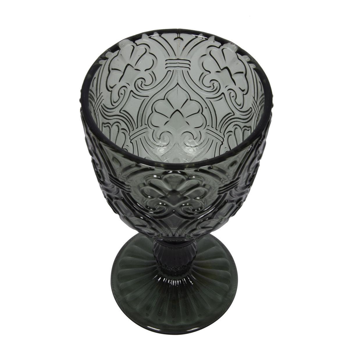 Набор из 6-ти бокалов темно-серого цвета с растительным орнаментом Corinto  - фото