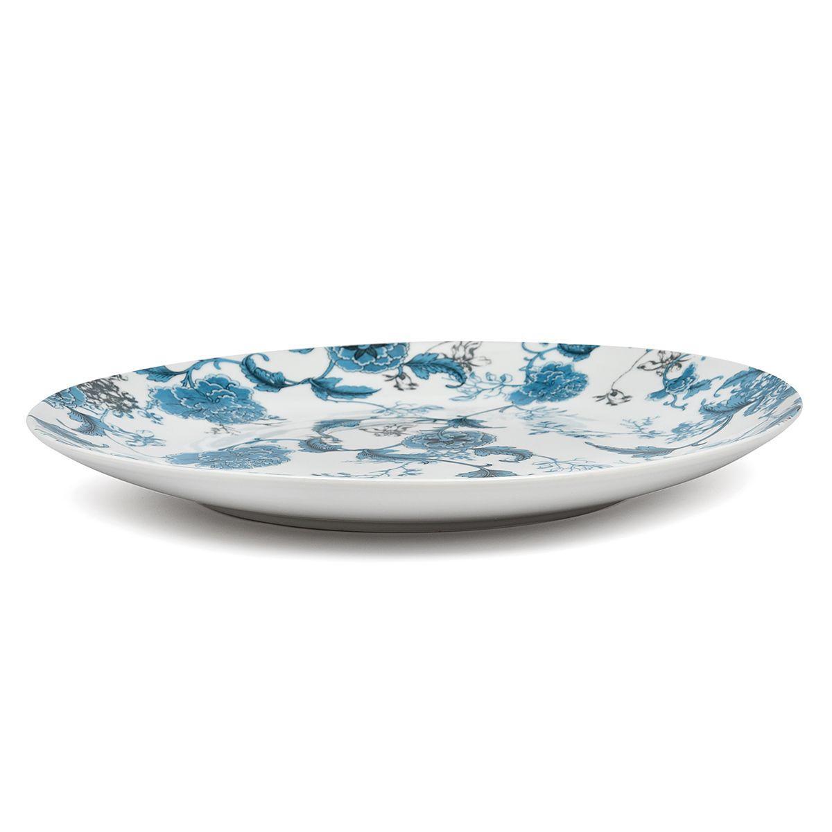 """Круглое сервировочное блюдо с растительным орнаментом в голубых тонах """"Лазурный дракон""""  - фото"""