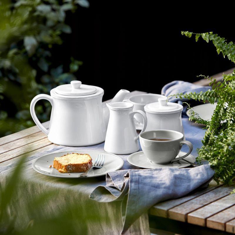 Чашки с блюдцем белые для чая, набор 6 шт. Friso  - фото