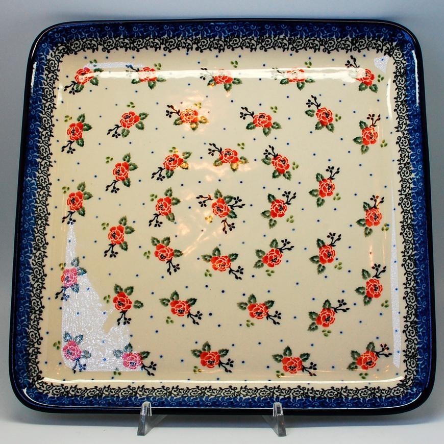 """Блюдо керамическое с цветочным узором """"Чайная роза""""  - фото"""
