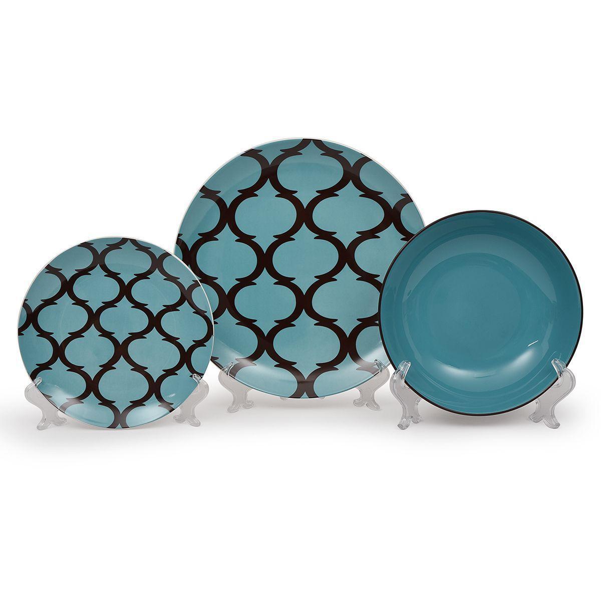 Фарфоровый столовый сервиз на 6 персон с узорами в шоколадно-бирюзовых тонах Glamour  - фото