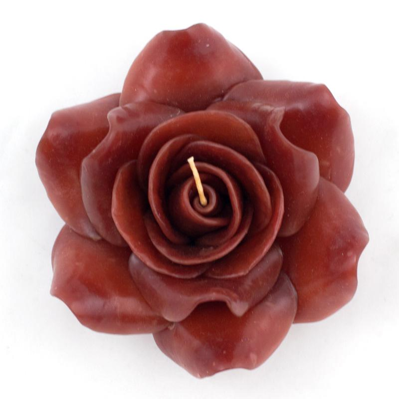 Свеча ароматическая в форме розы пурпурного цвета  - фото