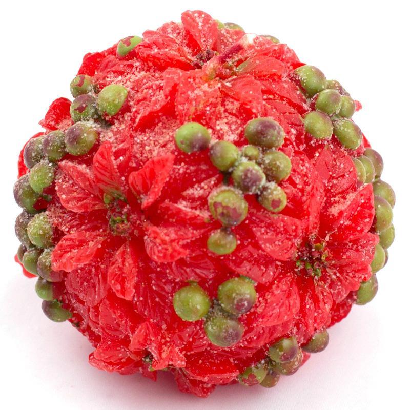 Красная свеча-шар с цветами пуансеттии  - фото