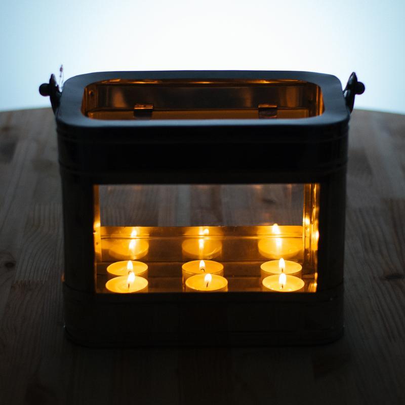 Подсвечник-фонарь стекло, кожаная ручка Light&Living  - фото