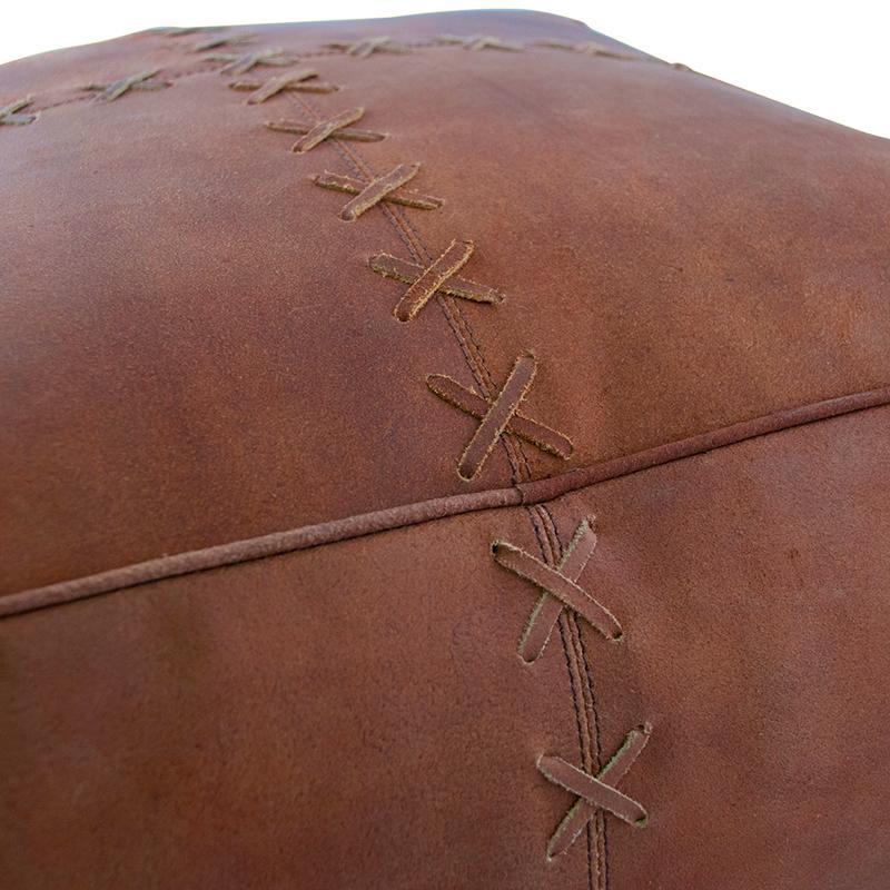 Пуф кожаный коричневый  - фото