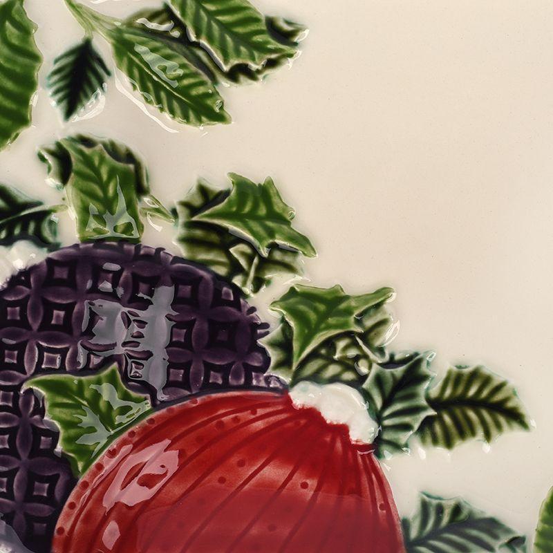 """Прямоугольный керамический поднос """"Новогоднее чудо"""" бежевого цвета Bordallo  - фото"""