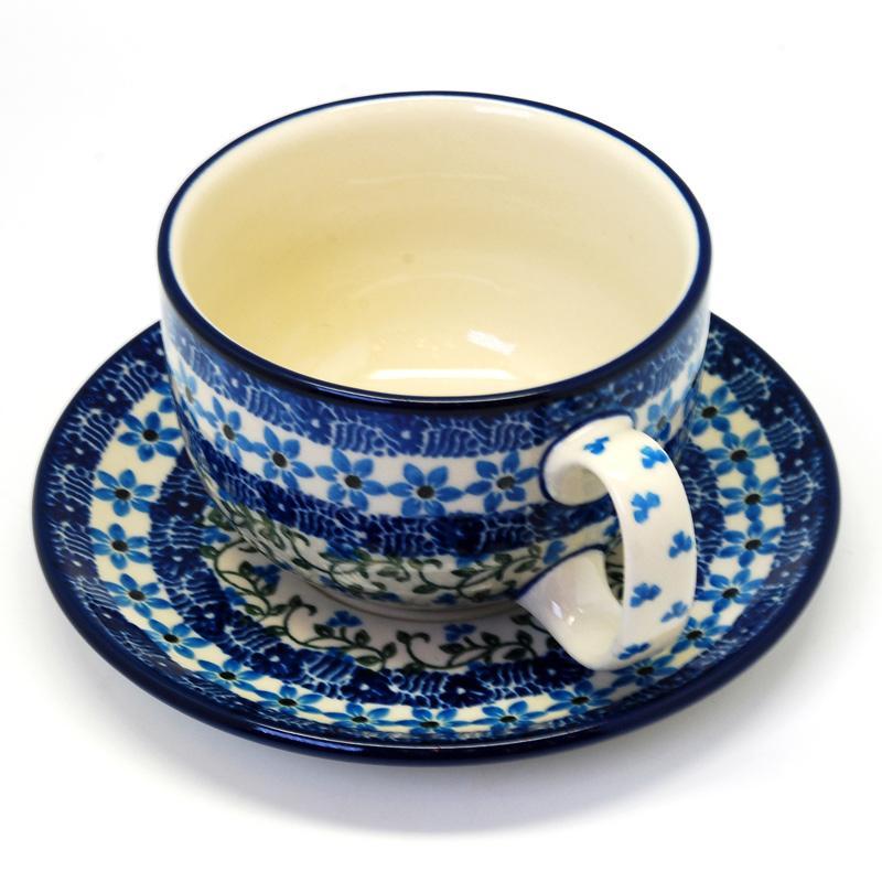"""Синяя чайная чашка с блюдцем """"Виноградная лоза""""  - фото"""