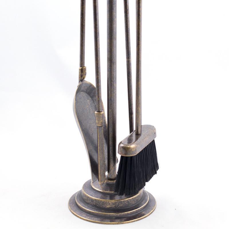 Латунный набор для камина из 4-х предметов на подставке  - фото