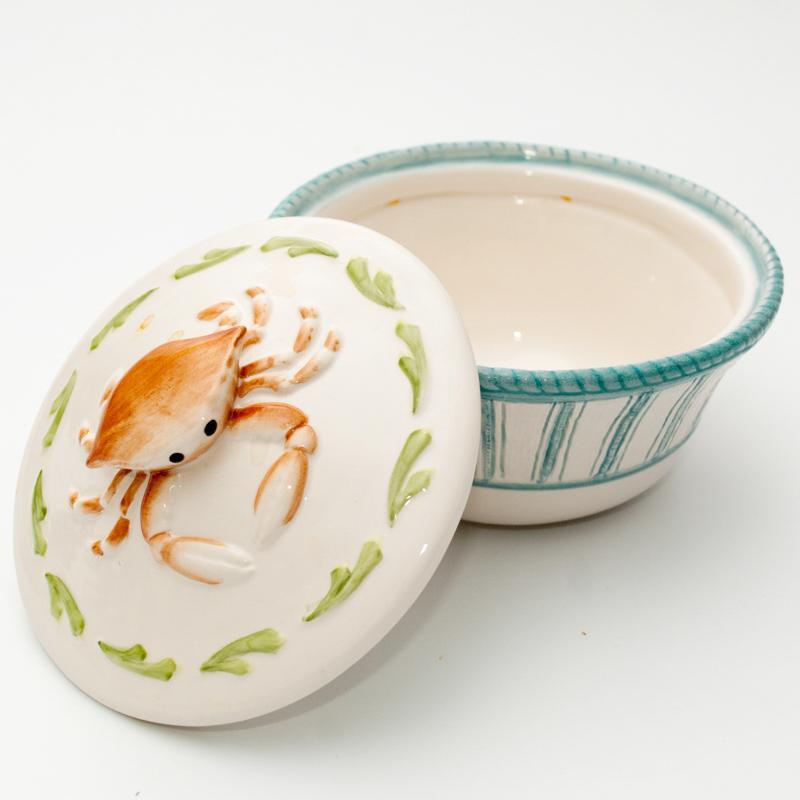 Керамическая пиала с крышечкой в морской тематике  - фото