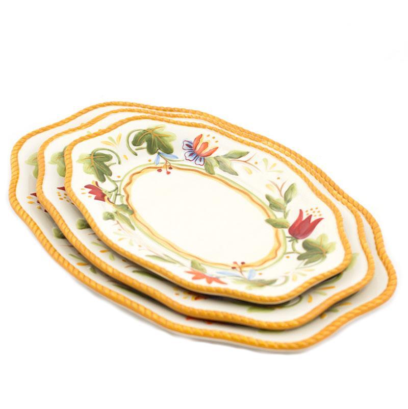 Блюдо большое с тюльпанами ручной росписи  - фото