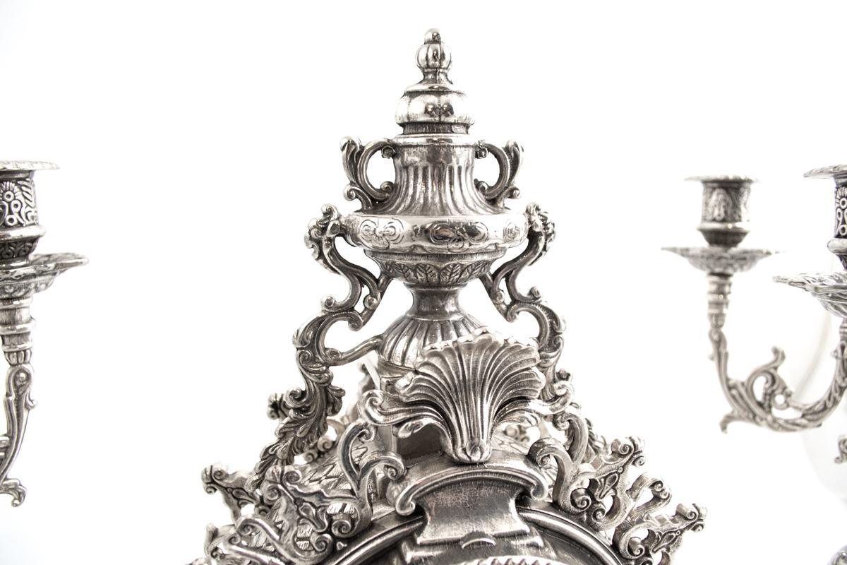 Набор часы и 2 подсвечника под бронзу  - фото