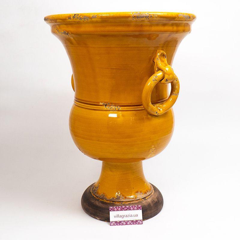 """Высокая керамическая ваза """"Помпеи"""" оранжевого цвета Bizzirri  - фото"""