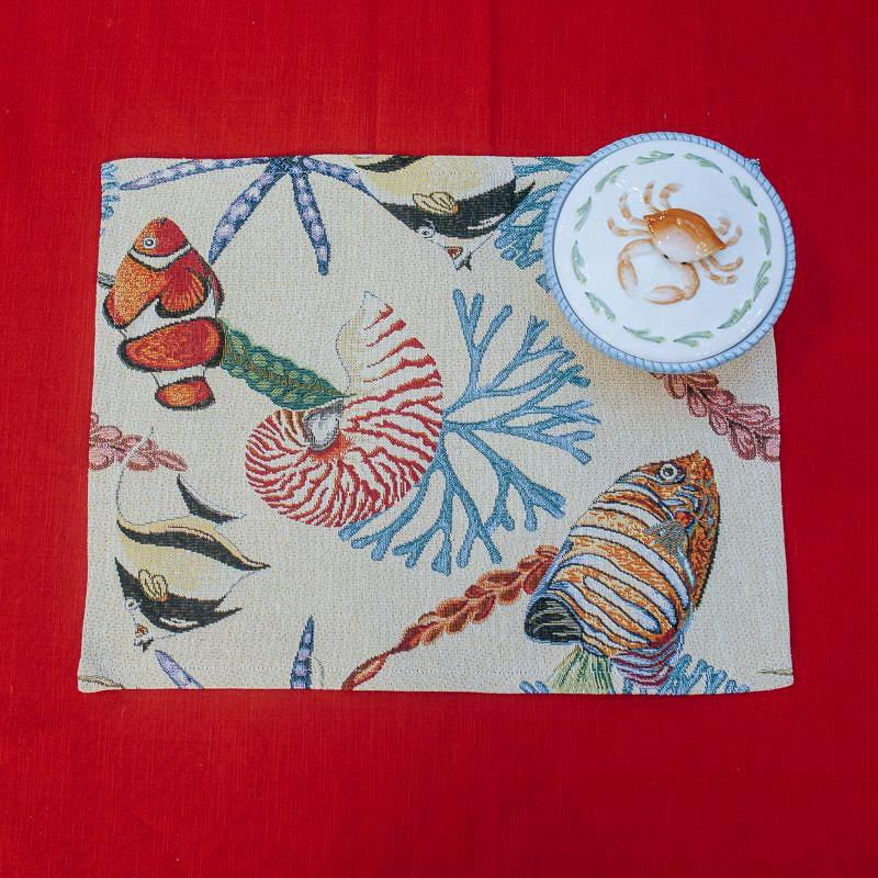 Гобеленовая салфетка с изображением подводных обитателей «Морская фантазия»  - фото