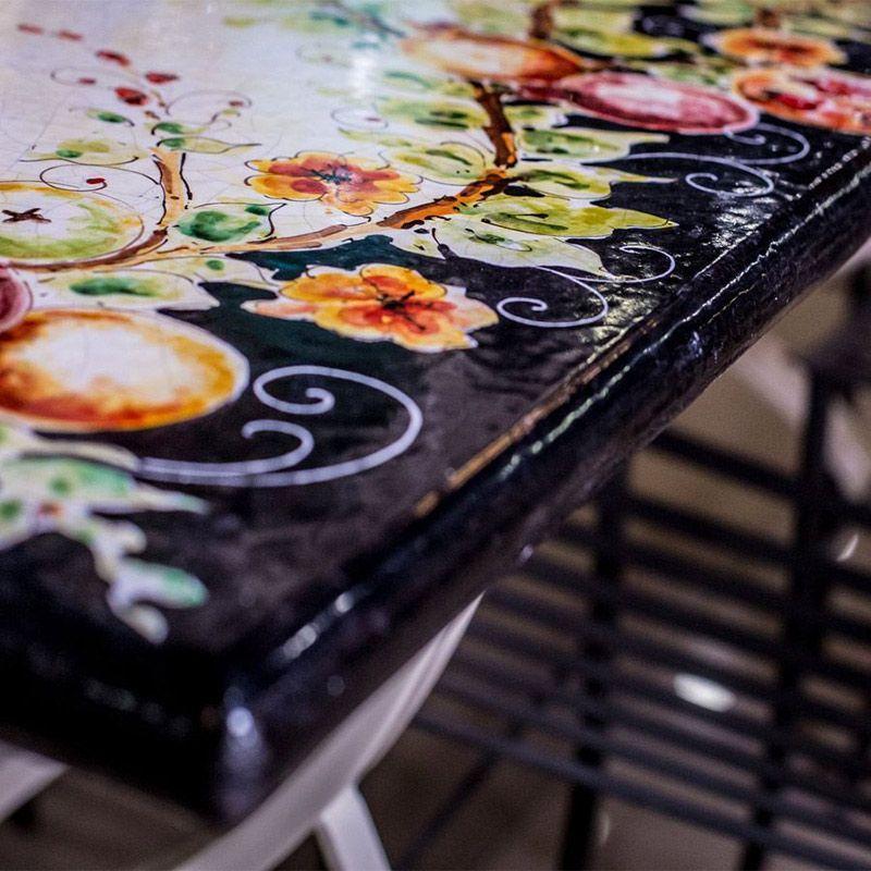 Столешница ручной росписи черная L´Antica Deruta  - фото