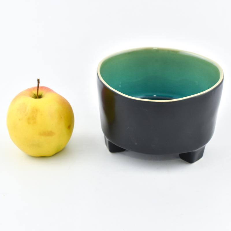 Тарелка для супа на ножках чёрно-голубая Riviera  - фото