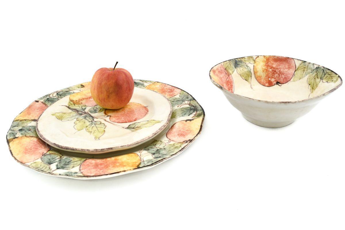 Комплект керамических тарелок с уникальной ручной росписью «Персики»  - фото