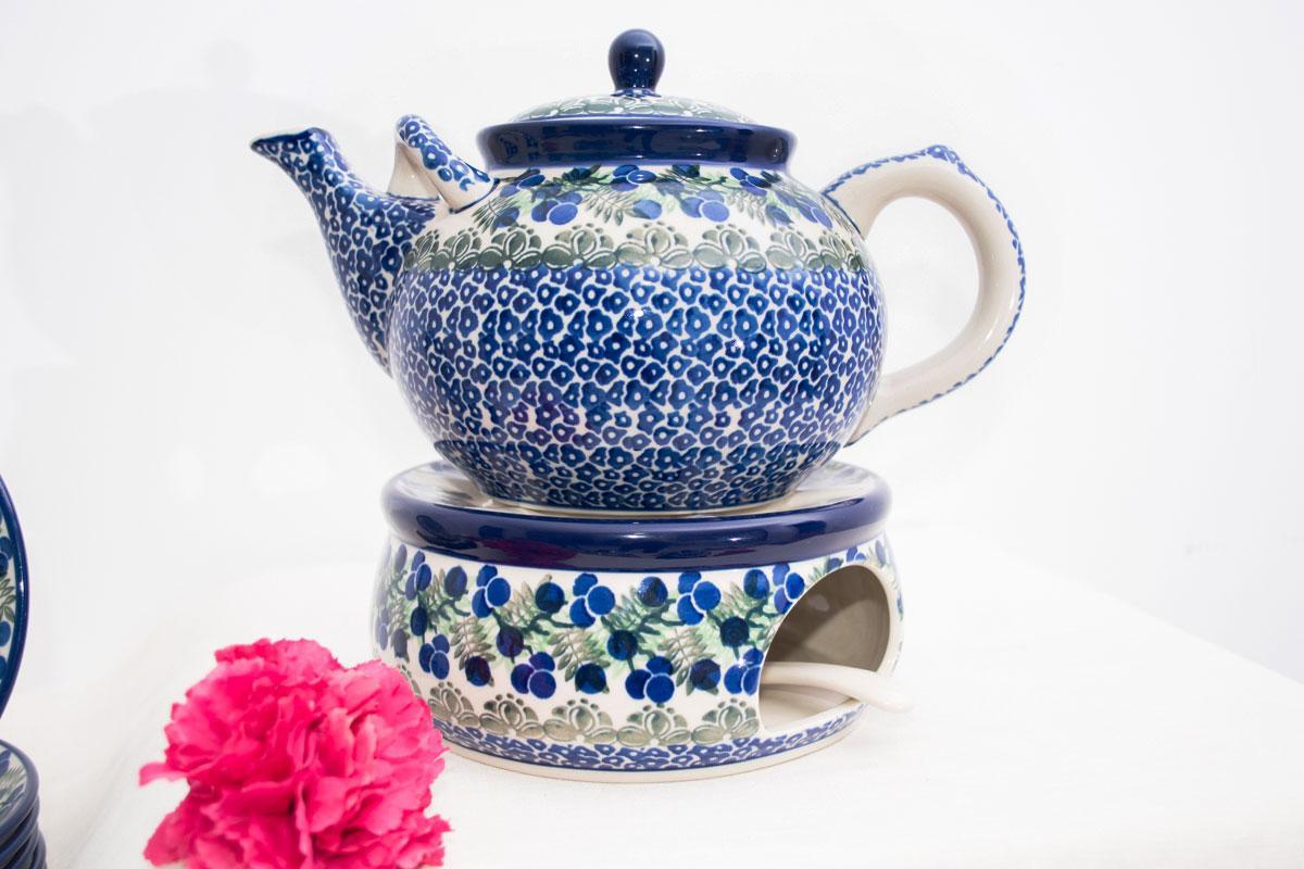 Сервиз чайный с тортовницей и чайником Ягодная поляна  - фото