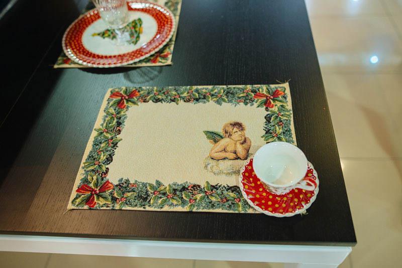Гобеленовая салфетка с рисунком Ангел   - фото