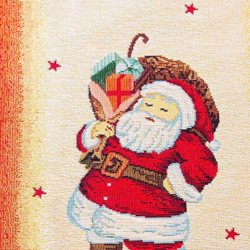 Красочный гобеленовый раннер для новогоднего дизайна «Санта Клаусы»   - фото