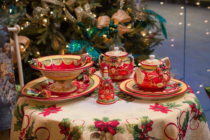 Сахарница красная Новогодний бант  - фото