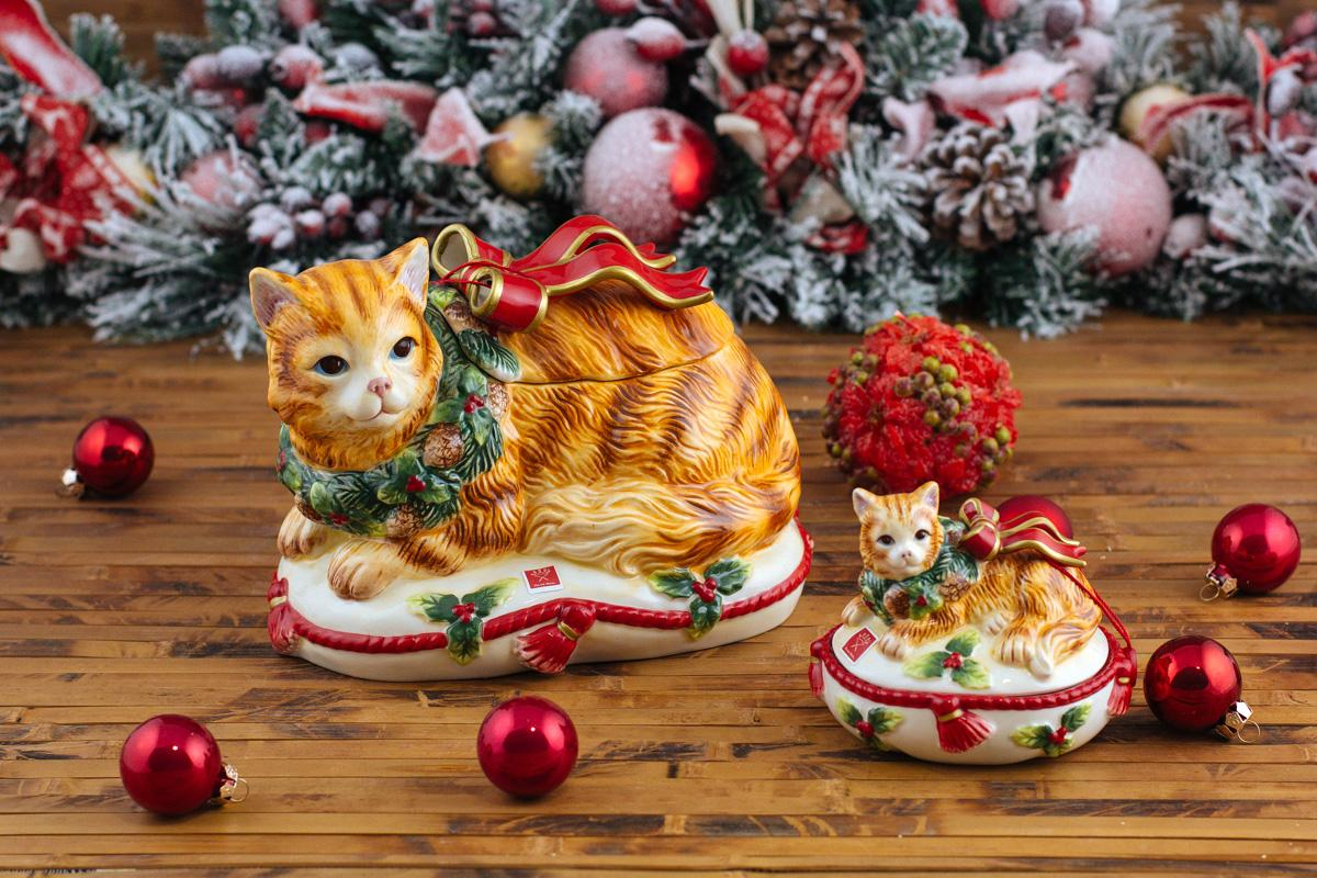 """Новогодняя ёмкость для печенья """"Нарядный котенок""""  - фото"""