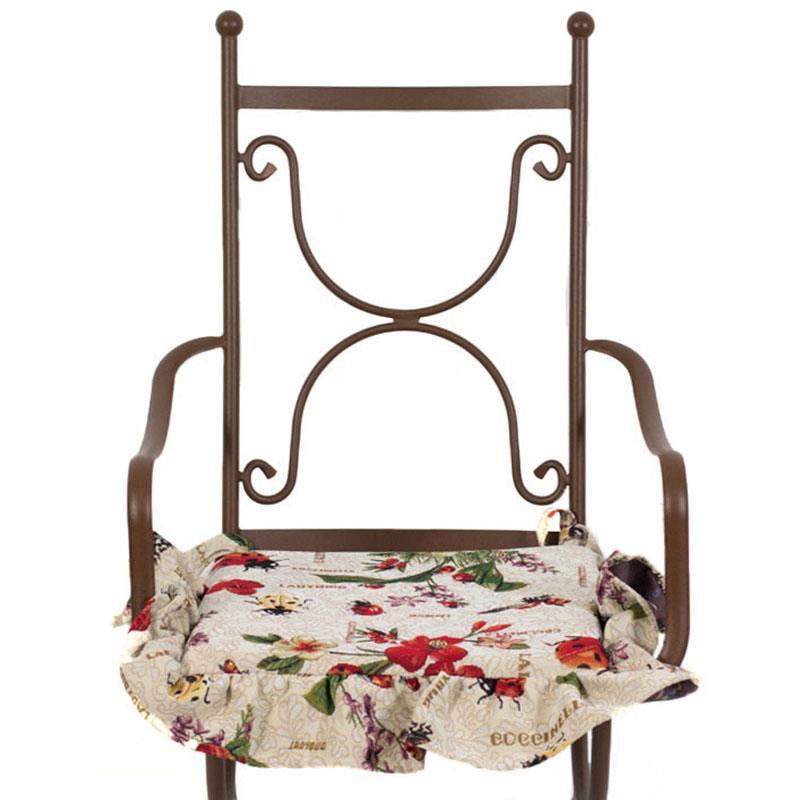 """Гобеленовая подушка для стула """"Божья коровка""""  - фото"""