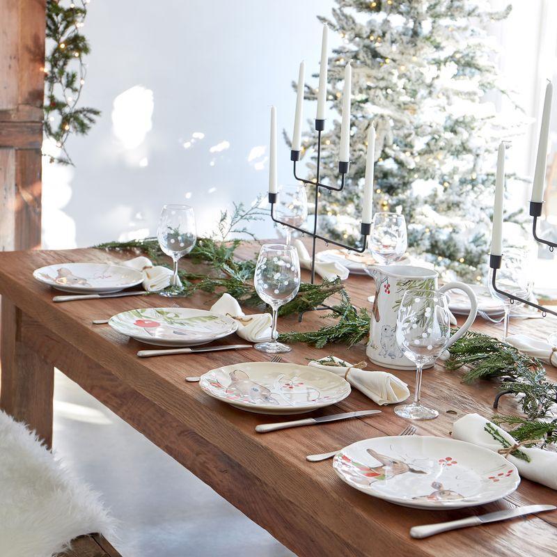 Комплект из 4 керамических обеденных тарелок белого цвета Deer Friends  - фото
