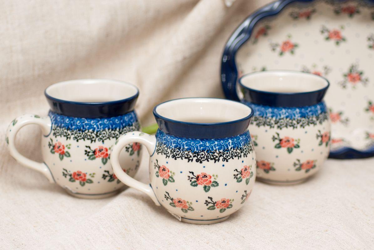 """Кружка с цветочным узором и синей каймой """"Чайная роза""""  - фото"""