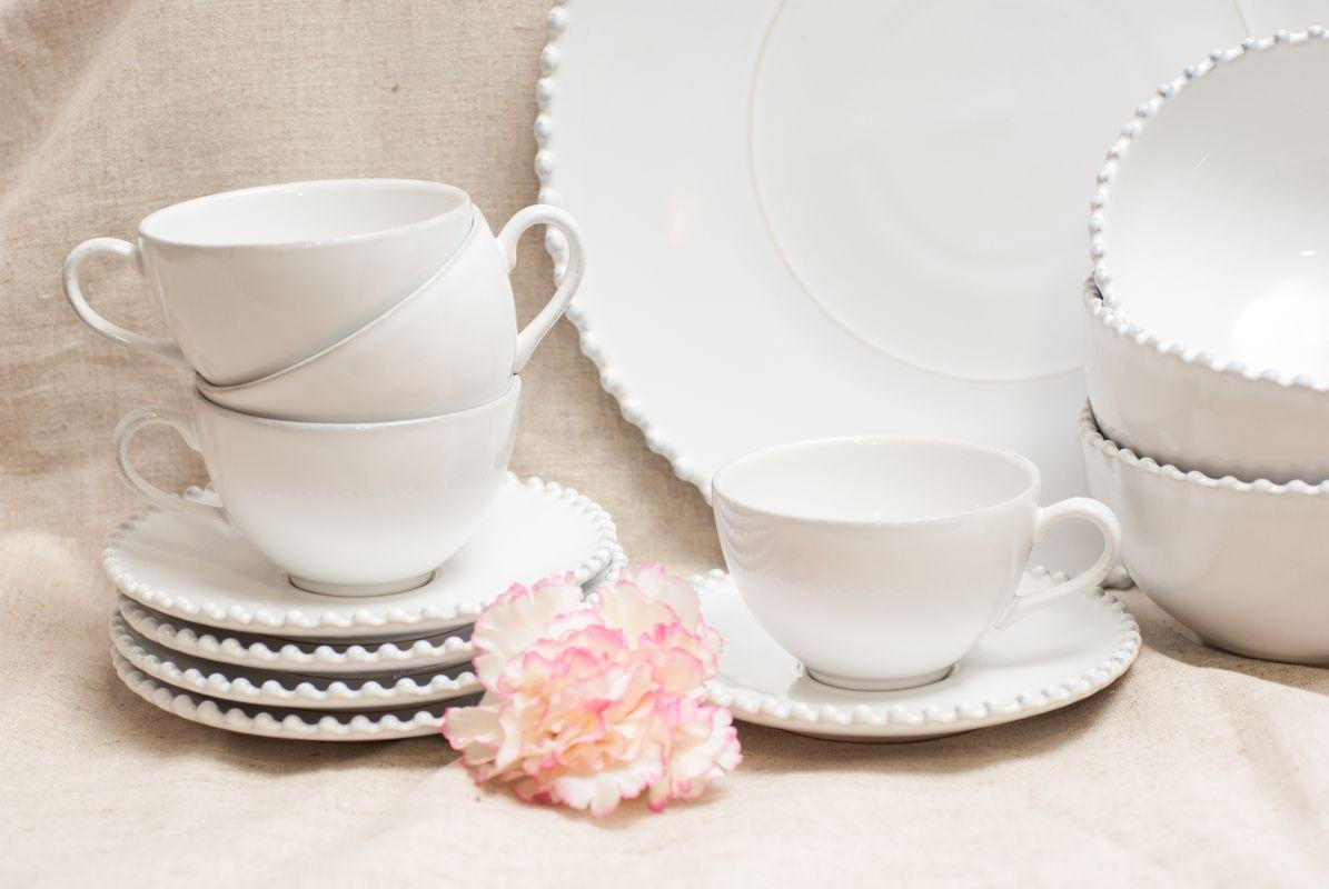 Большая белая чашка с блюдцем Pearl  - фото