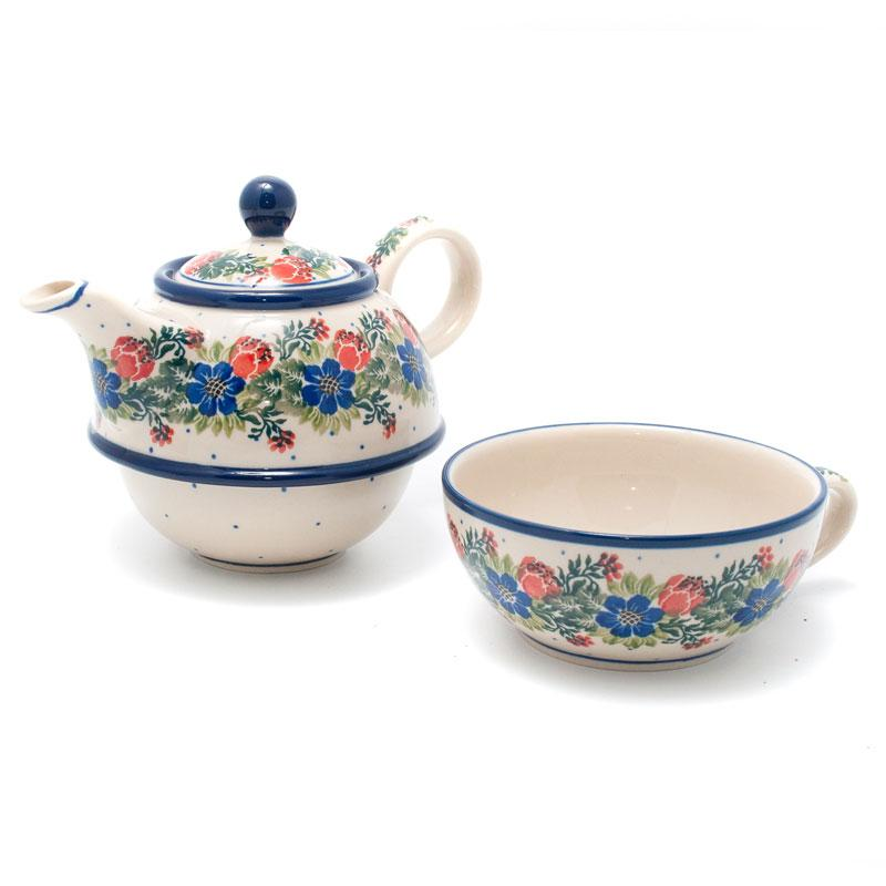"""Заварник для чая с чашкой из керамики """"Лесной веночек""""  - фото"""