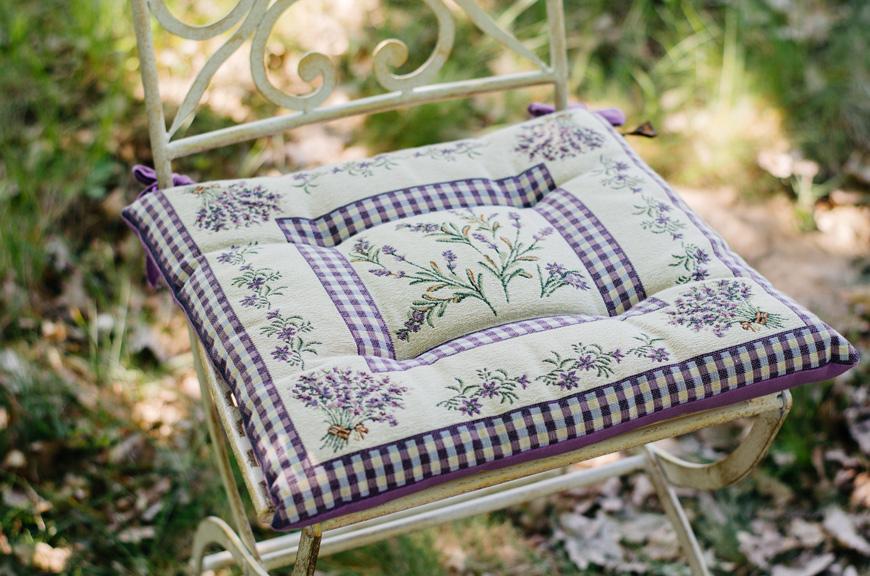 """Гобеленовая подушка для сидения """"Лаванда""""  - фото"""
