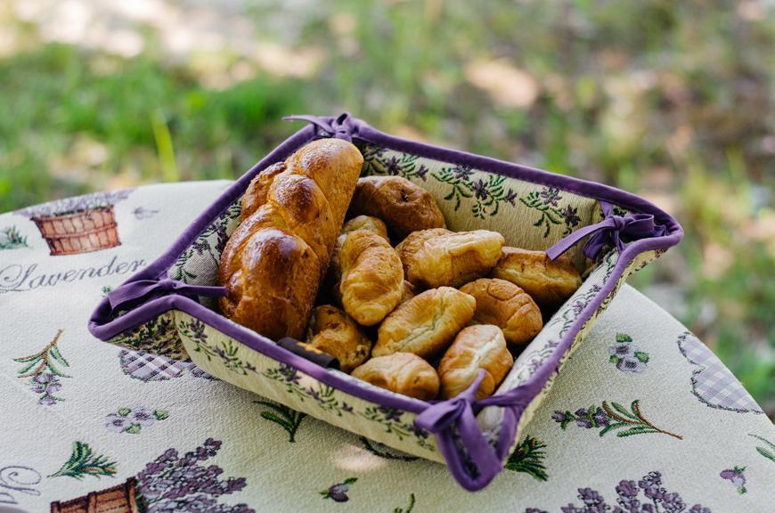 "Гобеленовая корзинка для хлеба ""Лаванда""  - фото"