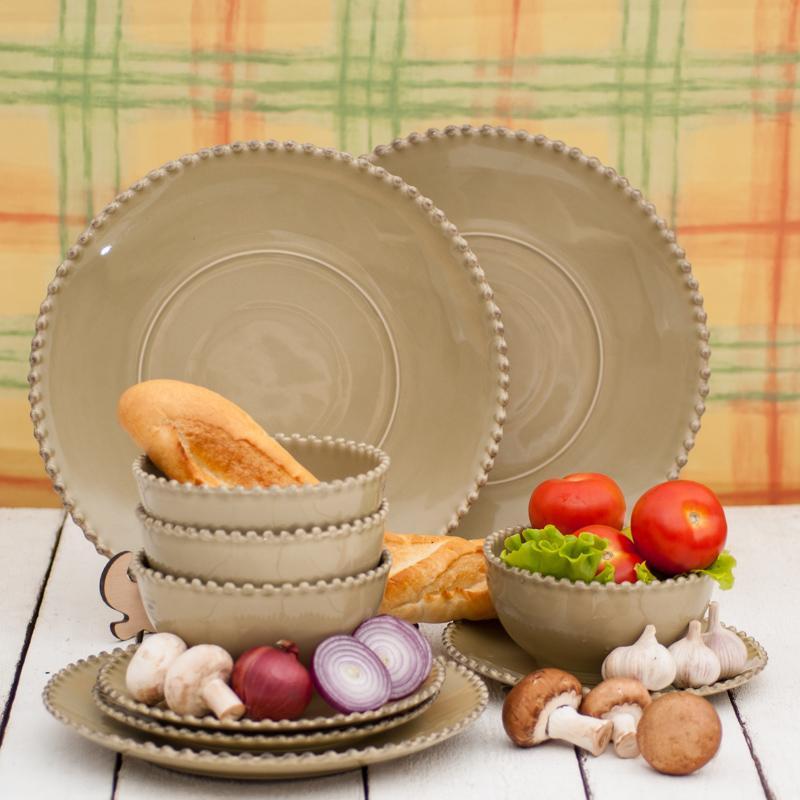 Миска глубокая керамическая оливкового цвета Pearl  - фото