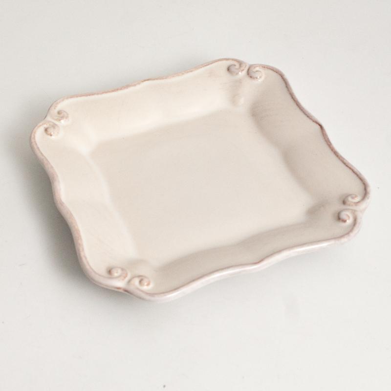 Квадратная десертная тарелка из белой керамики Barroco  - фото