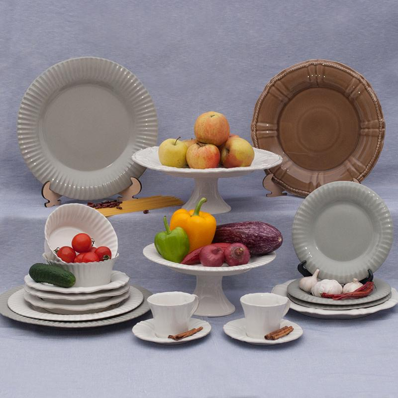 Набор из 6-ти мелких тарелок серого цвета Village  - фото