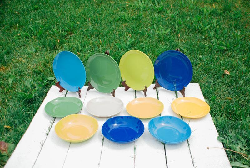 Тарелка суповая из синей керамики Ritmo  - фото