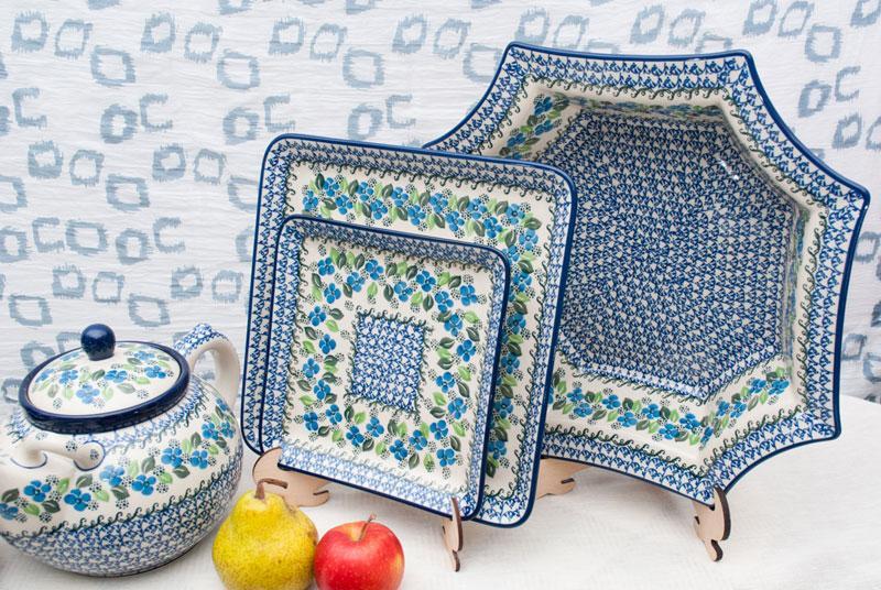 "Блюдо квадратное с синим орнаментом ""Вербена""  - фото"