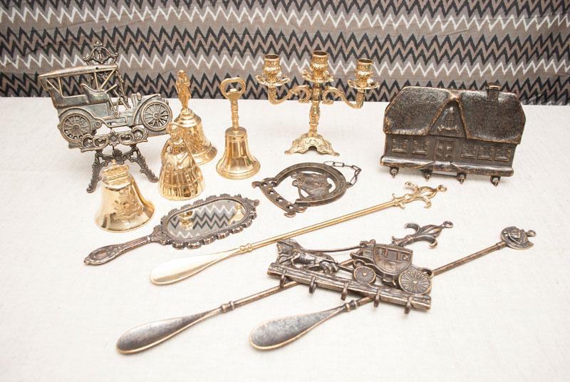 """Лопатка для обуви латунная золотистого цвета в античном стиле """"Лилия""""  - фото"""