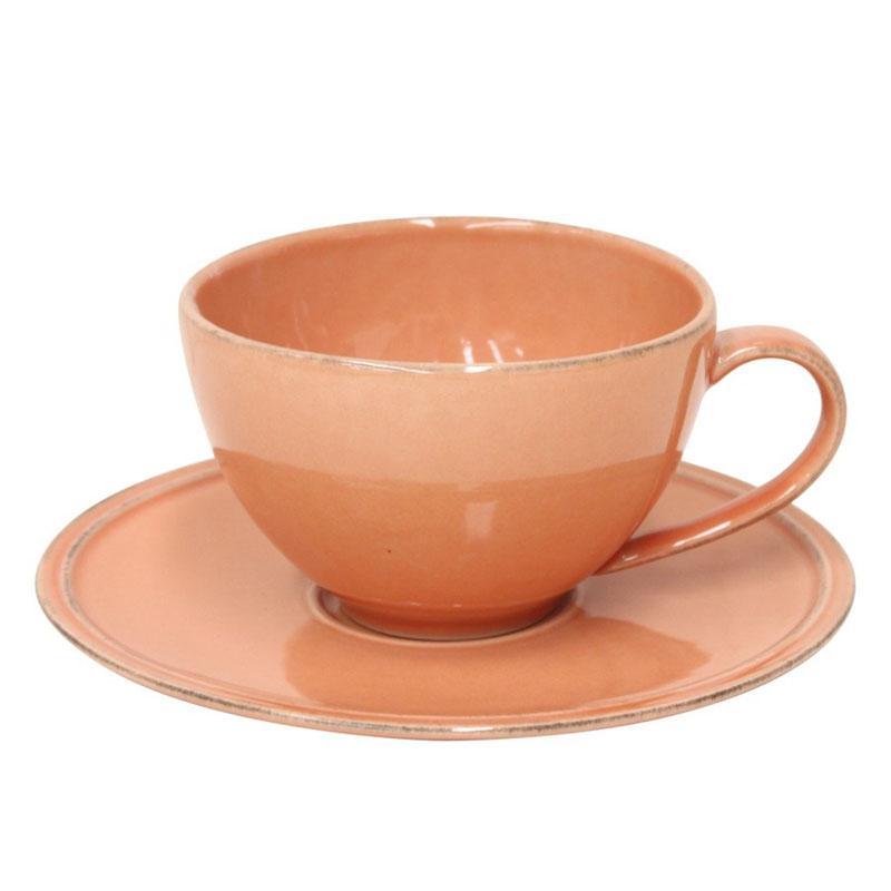 Чашка с блюдцем терракотовая для чая Friso  - фото