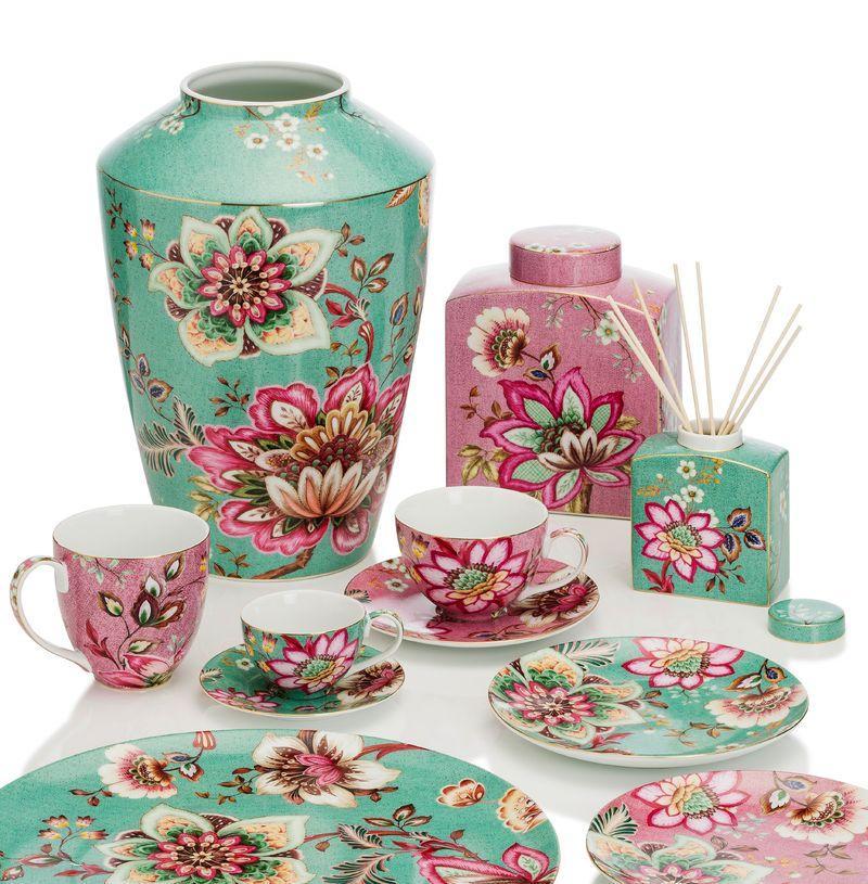 Тортовница плоская бирюзовая с розовыми цветами Fleurs  - фото