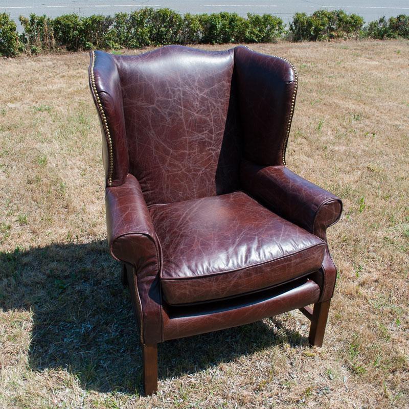 Кресло из натуральной кожи Downing  - фото